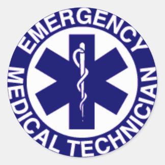 TÉCNICOS MÉDICOS EMT DE LA EMERGENCIA PEGATINA REDONDA