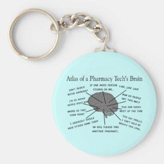 """Tecnología """"atlas de la farmacia del cerebro de la llavero redondo tipo pin"""