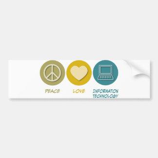 Tecnología de la información del amor de la paz etiqueta de parachoque