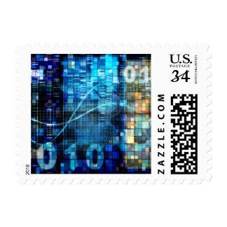 Tecnología del código binario del fondo de la timbre postal