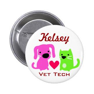 Tecnología del gato del perro y del veterinario de pin redondo de 2 pulgadas
