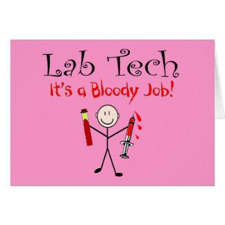 """Tecnología del laboratorio """"es un trabajo sangrien tarjeton"""