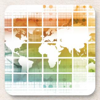 Tecnología del negocio mundial posavasos de bebidas
