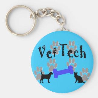 TECNOLOGÍA del veterinario con el hueso de perro Llavero Redondo Tipo Pin