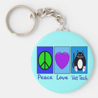 Tecnología del veterinario del amor de la paz llavero redondo tipo pin