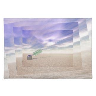Tecnología láser verde mantel individual