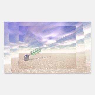 Tecnología láser verde pegatina rectangular