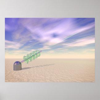 Tecnología láser verde póster