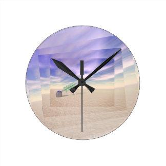 Tecnología láser verde reloj redondo mediano