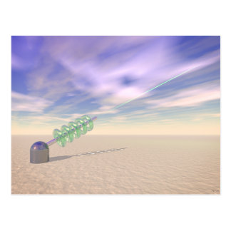 Tecnología láser verde tarjetas postales
