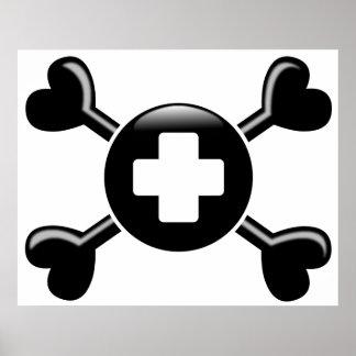 Tecnología quirúrgica de la bandera pirata posters