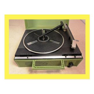 Tecnología retra del tocadiscos de la placa postal