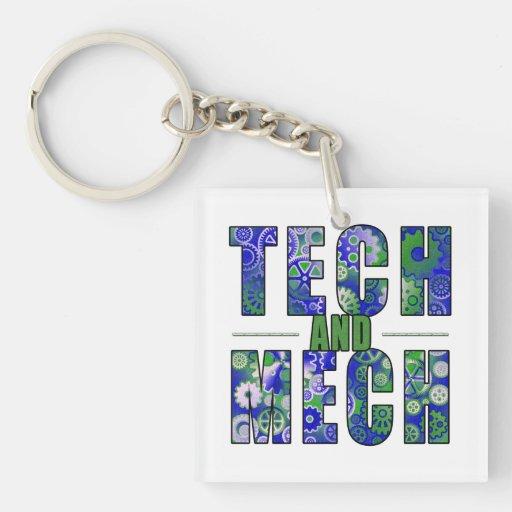 Tecnología y Mech azules Llavero