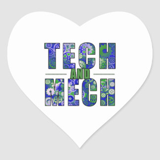 Tecnología y Mech azules Pegatinas Corazon Personalizadas