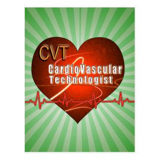 Tecnólogo cardiovascular del LOGOTIPO del CORAZÓN Postales