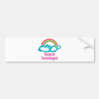 Tecnólogo quirúrgico del arco iris de la nube etiqueta de parachoque