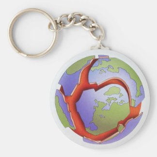 Tectonic Plates Cracked Earth Magma Round Keychain