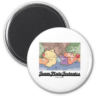Tectónica de placas del equipo (humor geológico de imán para frigorifico