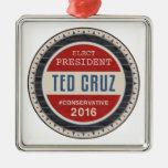 Ted Cruz 2016 Adorno Cuadrado Plateado