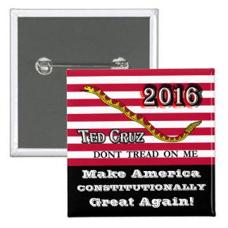 Ted Cruz 2016 - bandera de Jack de la marina de Pin Cuadrado