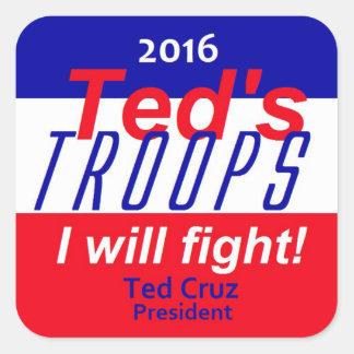 Ted Cruz 2016 Calcomanías Cuadradass