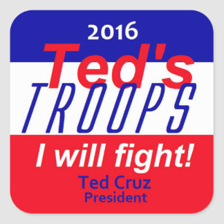 Ted Cruz 2016 Pegatina Cuadrada