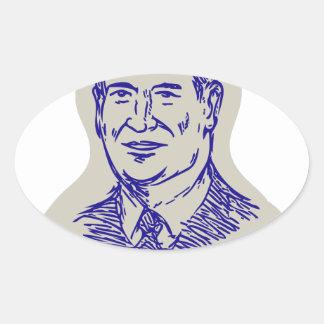 Ted Cruz 2016 President Drawing Oval Sticker
