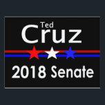 "Ted Cruz 2018 Senate Yard Sign<br><div class=""desc"">Popular Ted Cruz Senate 2018 Senate Yard sign. Red White and Blue design for The Great State of Texas.</div>"