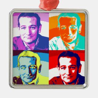 Ted Cruz: Colores intrépidos, ningunos pasteles Adorno Cuadrado Plateado