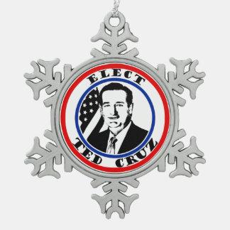 Ted Cruz For President Snowflake Pewter Christmas Ornament