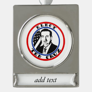 Ted Cruz For President Silver Plated Banner Ornament