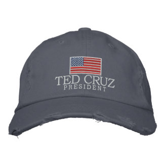 Ted Cruz for President with American Flag Embroidered Hats