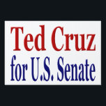 "Ted Cruz for Senate Yard Sign<br><div class=""desc"">Yard sign promoting Ted Cruz for the U.S. Senate from Texas.  Available in several sizes.  Price includes H-frame.</div>"
