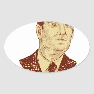 Ted Cruz President 2016 Drawing Oval Sticker