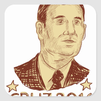 Ted Cruz President 2016 Drawing Square Sticker