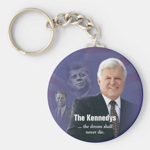Ted Kennedy con el llavero de JFK y de RFK