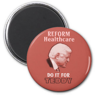 Ted Kennedy Red Magent 2 Inch Round Magnet