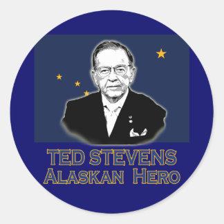 Ted Stevens, camisetas de Alaska del héroe, Pegatina Redonda