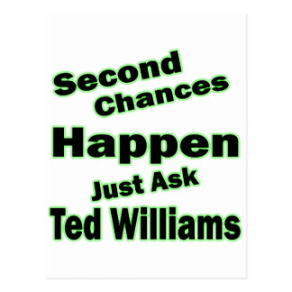 Ted Williams Second Chances Green Postcard