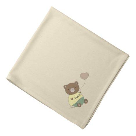 Tedd E. Teddy Bear Khaki Personalized Pet Bandana