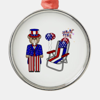 Teddies 4th of July Chair Round Metal Christmas Ornament