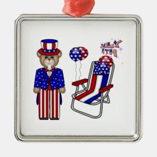 Teddies 4th of July Chair Square Metal Christmas Ornament