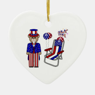 Teddies 4th of July Chair Double-Sided Heart Ceramic Christmas Ornament