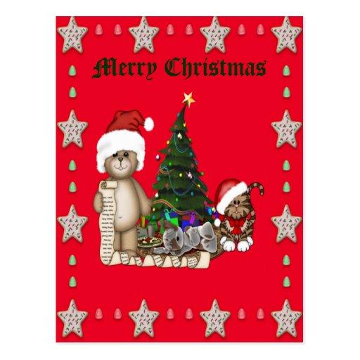 Teddies Christmas List Post Card