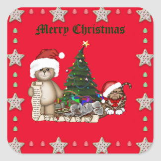 Teddies Christmas List Square Sticker
