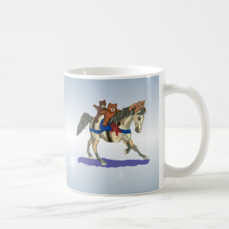 Teddies on Gray Horse Winter Joy Mug