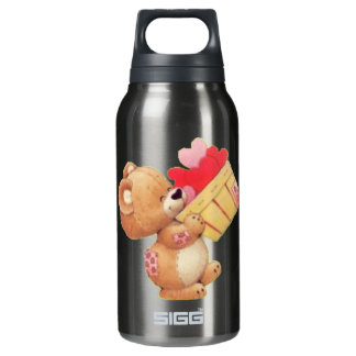 Teddy And A Basket Of Hearts Insulated Water Bottle