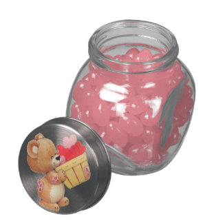 Teddy And A Basket Of Hearts Mini Jelly Belly Candy Jars