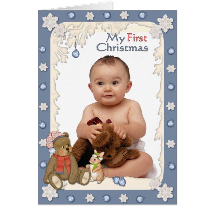 Teddy Babys First Christmas Card