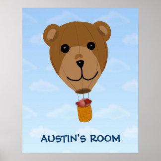 Teddy Balloon w/Hearts Customizable Poster Print